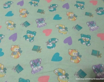Flannel Fabric - Teddy Bears and Hearts- 1 yard - 100% Cotton Flannel