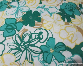 Flannel Fabric - Large Floral Green - 1 yard - 100% Cotton Flannel