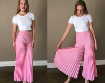 Vintage 60s Pink Palazzo Pants Accordion Pleated Wide Leg Mod Hippie