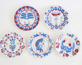 Plate set Byzantium - Decorative plates - Wall plates - Wall hangings - White blue red decor