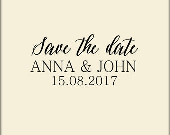 Save the date stamp, Custom wedding stamp, Personalized invitation stamp, small wedding stamp, 1x2 inches stamp, Custom logo stamp, A35