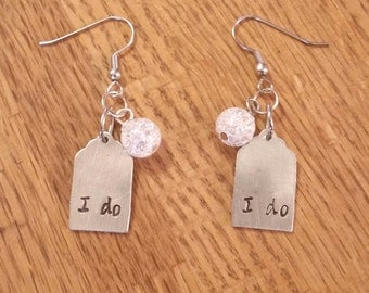 Wedding day/Anniversary hand stamped earrings