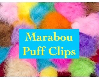 Marabou puff hair clips, feather hair clip, marabou puff clip, marabou feather puff