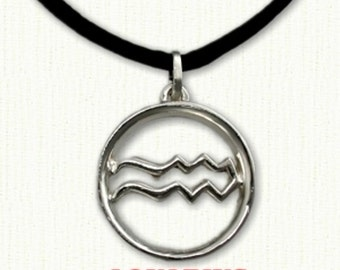 "Custom Aquarius Astrological Pendant - 1"" (25mm) Shown on black cord included"