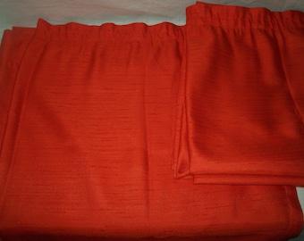 """1970s Pair of Vibrant Orange Curtains W42"""" x D102"""""""