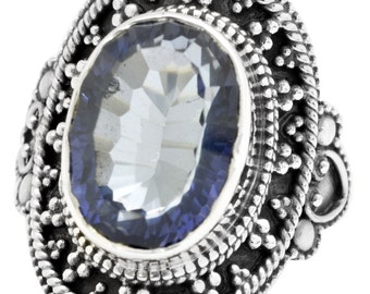 Blue Mystic Quartz Ring Solid 925 Sterling Silver Jewelry Size 8.25 EBR1108
