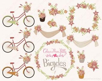 Bicycles and Flowers 1 Earth Tones {Vectors Clip Arts Illustrator Graphics}