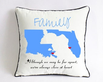 LA FL state long distance pillow case-custom family gift-birthday gift for parents-although we may be far apart,we're always close at heart