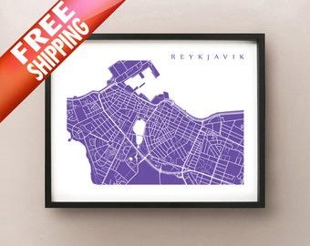 Reykjavik Map Print - Iceland Poster