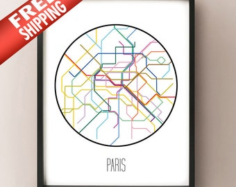 Paris, France - Minimalist Metro Subway Art Print - Paris Métro