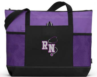 RN Nurse Tote Bag/ Nurse Bag/ Nurse Tote/ RN Embroidered with Stethoscope Purple Nurse Tote/ RN gift