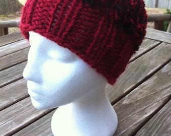 Red Hat with Black and Red Eyelash yarn, Crochet Hat, Crochet Beanie Hat, Women's Hat, Teen Hat, Winter Hat, Beanie