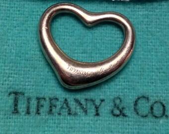 SALE- TIFFANY & CO Elsa Peretti Sterling Silver Open Heart Pendant With Genuine Tiffany Chain!
