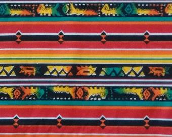 "Vintage 90s Southwestern fabric Lizards iguanas Gila monster reptile 1.6 yards x 72"""