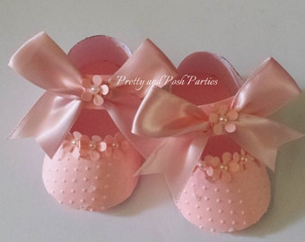 10 Adorable Floral Pink Pearl Embellishment Paper Shoe Favor Boxes