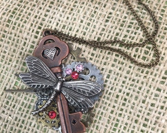 Whimsical steampunk dragonfly necklace