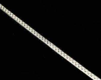 """Herringbone  Silver Link Bracelet 8""""  Sterling"""
