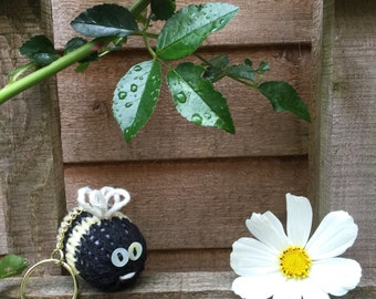 Mr Bumble Bee Hand Knitted Keyring