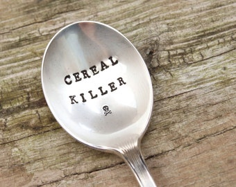 Cereal Killer Spoon - Skull and Crossbones - Vintage HandStamped Spoon - Stocking Stuffer - Gifts for him - Breakfast spoon