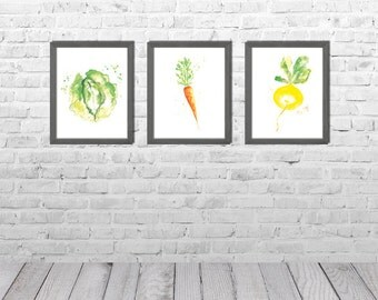 Kitchen Wall Art, Dining Room Decor, Kitchen Paintings, Vegetable Watercolor Painting, Vegetable Art, Still Life, Set of 3 Prints