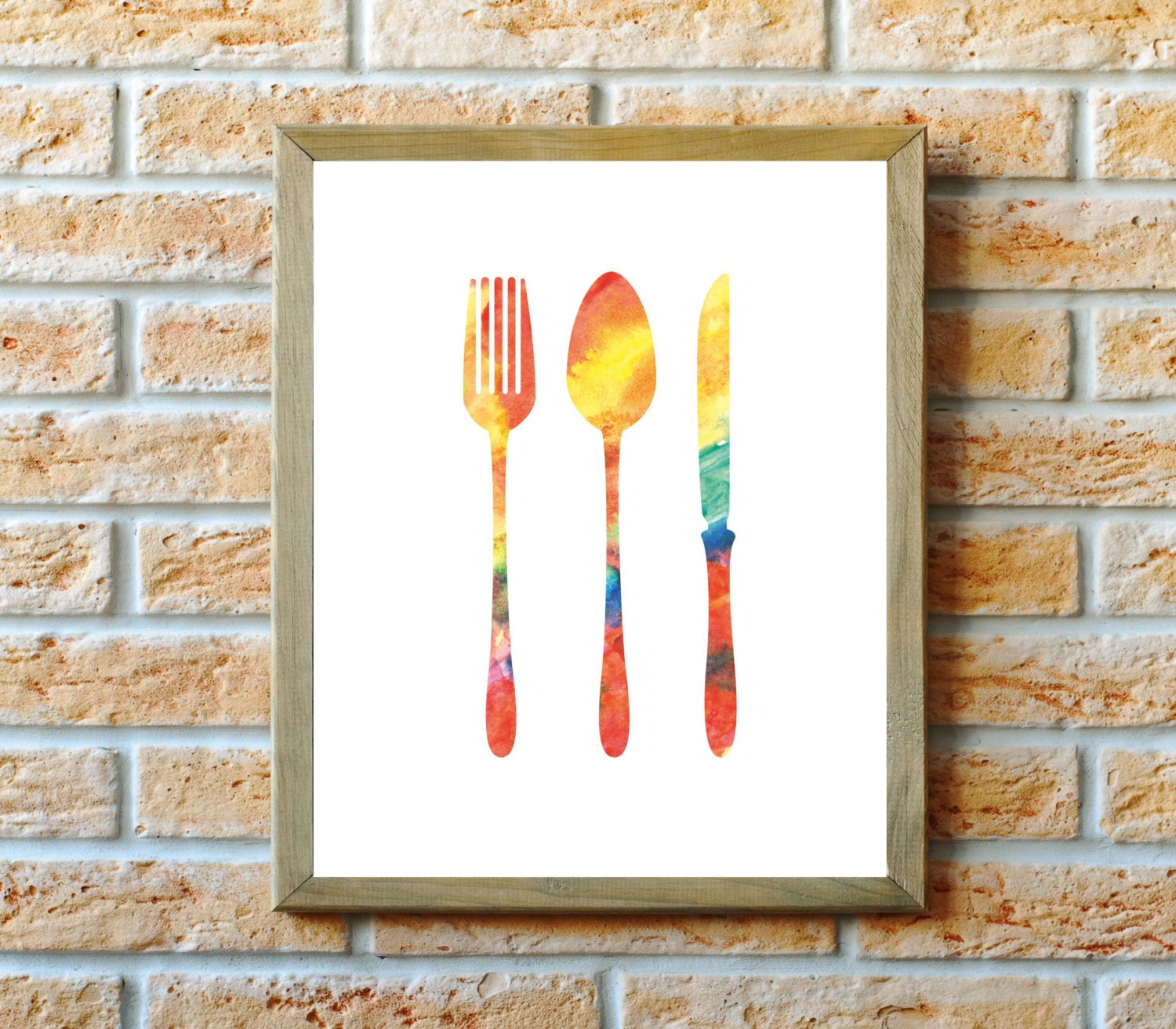 Kitchen wall art kitchen art print fork spoon and knife for Art prints for kitchen wall