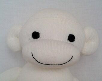 Snowdrop the White Sock Monkey Cuddly Soft Toy