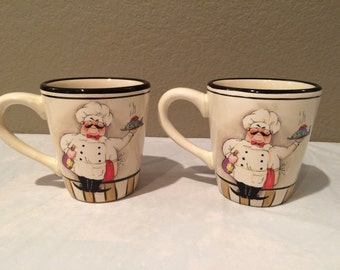 """Vintage  Collectibles HD Designs Waiter 4.5"""" Mugs Set of Two Rare"""