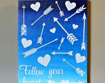 Follow Your Heart sign, Girls Decor, Teen Decor