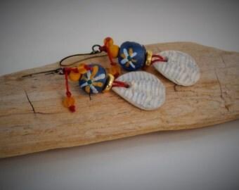 Pushing Daisies earrings - Dangle, Natural, Organic, Beach, Summer