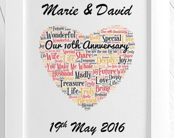Personalised Our Anniversary Framed Love Word Art