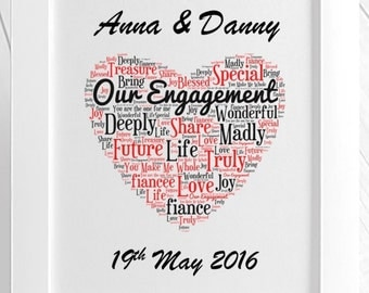 Personalised Our Engagement Framed Love Word Art