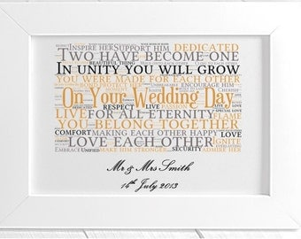 Personalised Your Wedding Day Framed Word Art