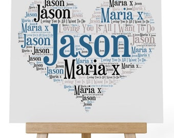 Personalised Love Word Art Wooden Plaque & Wooden Easel Stand - Loving You Is All I Want To Do