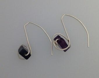 Fluorite and Silver Wire Earrings