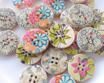 25 Wooden buttons Round mixed Fantasy 25mm
