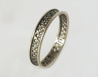 silver wire ring , unique pattern 925 sterling silver ring.