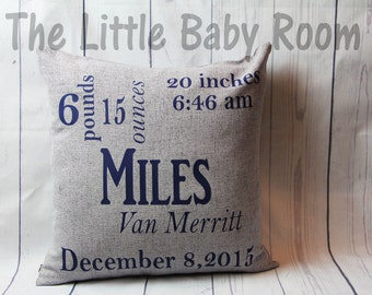 Personalized Baby Pillow,Pillow Cover Birth Announcement,Custom Baby Pillow, 18x18 Square Pillow,Gray,Navy,Nursery Decor,Girl Gift,Boy Gift