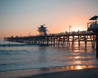 San Clemente Pier Sunset - California Pacific Ocean Beach Sea Coastal Pastel Surfing Wall Art Photography Print