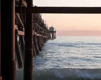 San Clemente Pier Sunset - California Pacific Ocean Beach Sea Coastal Pastel Wall Art Photography Print