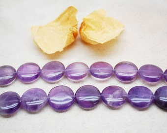 Amethyst Round Coin Beads 18mm
