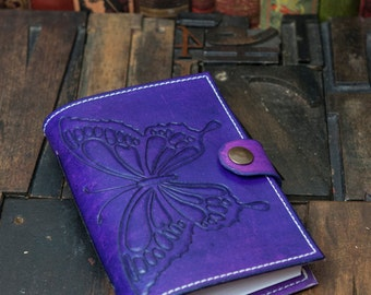 Leather Journal with Hand tooled butterfly design