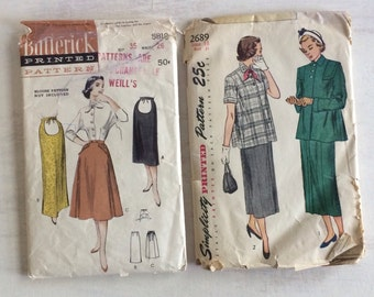 Two Vintage Maternity Sewing Patterns