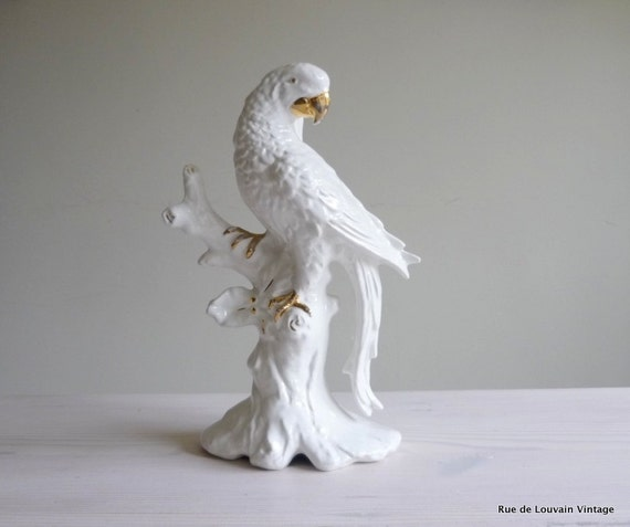 White Italian Ceramic Parrot Lamp Hollywood Regency Lamp