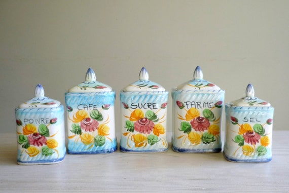 Vintage French Kitchen Canisters Handpainted Ceramic Storage