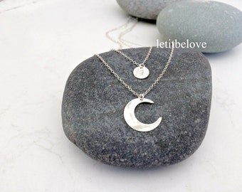 personalized layered moon initial necklace,crescent moon initial necklace,celestial moon,925 sterling silver,handstamped initial,moon,gift