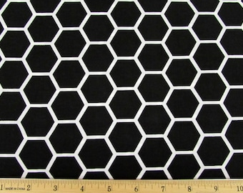Hexagon  Black Fabric