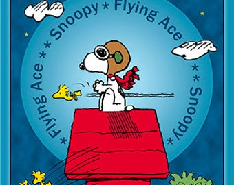 Peanuts Snoopy Flying Ace Fabric  From Quilting Treasures By the Panel