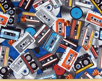 Per Yard, All Amped Up Cassette Tapes Fabric From RJR
