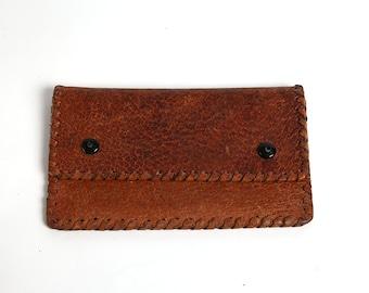 Vintage Leather Woman Money Purse, Small Retro Brown Change Purse, Small wallet, Vintage coin purse, Leather Portfolio, Folding Billfold