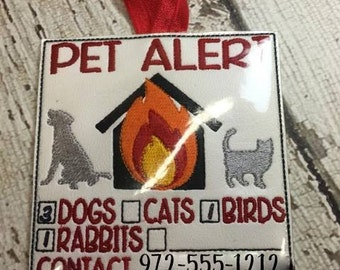 4 x 4 Only - Pet Alert - EMERGENCY Contact -  In the Hoop SIgn - Embroidery Design -   DIGITAL Embroidery DESIGN
